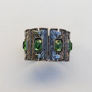 Sea Green Glass Window Bangle Bracelet